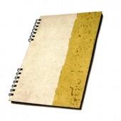 Caderno universitário branco e amarelo