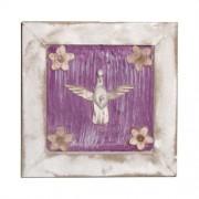 Pomba do divino - quadro pátina branco e roxo (Duplicate)