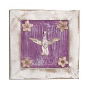 Pomba do divino – quadro pátina branco e roxo