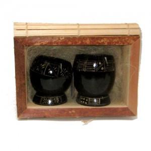 Kit caixa de buriti e 2 copinhos de cuia preta